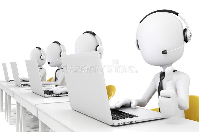 3d mens en laptop, call centreconcept stock illustratie