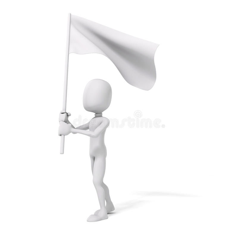 3d mens en vlag, protestconcept stock illustratie
