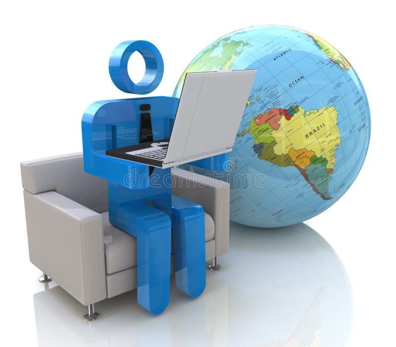 3d mens - globale mededeling vector illustratie