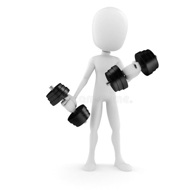 3d mens het opheffen gewichten stock illustratie