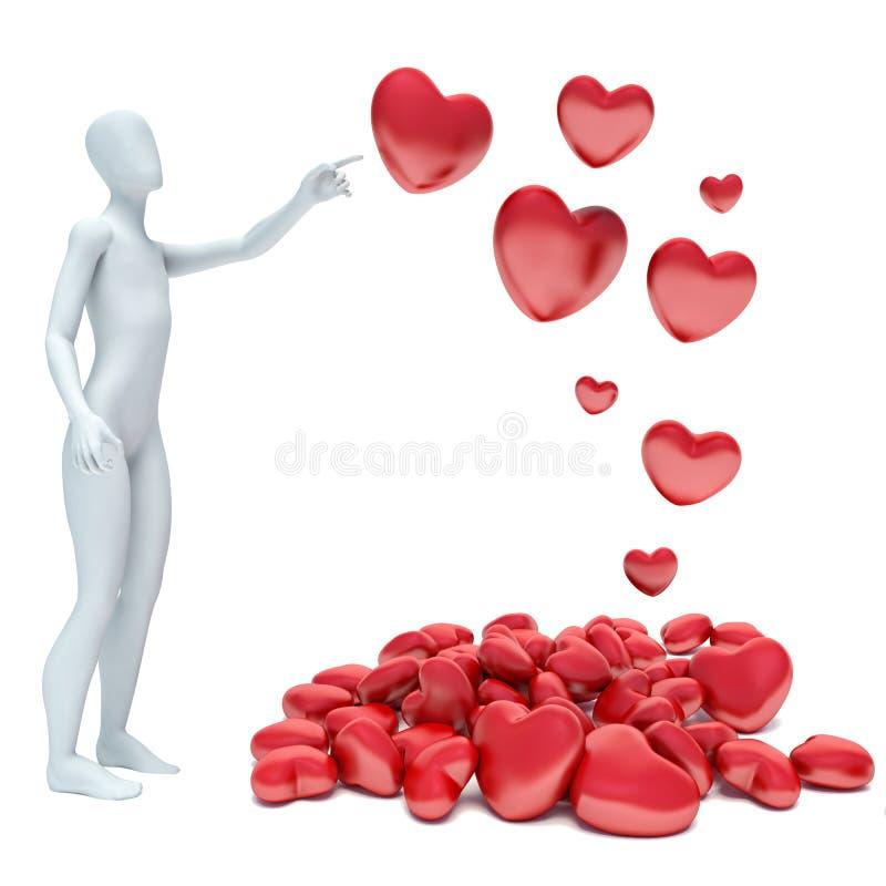 3d mens in liefde met 3d rood hart stock illustratie