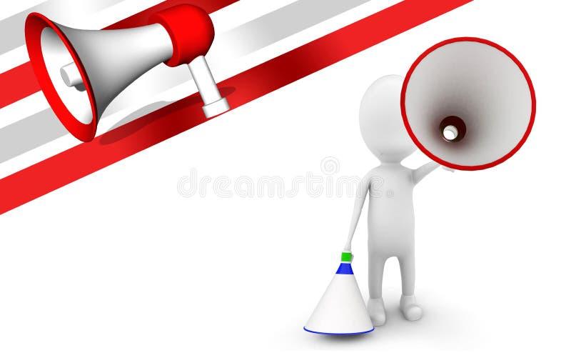3d mens met blauw en rood luid sprekersconcept royalty-vrije illustratie