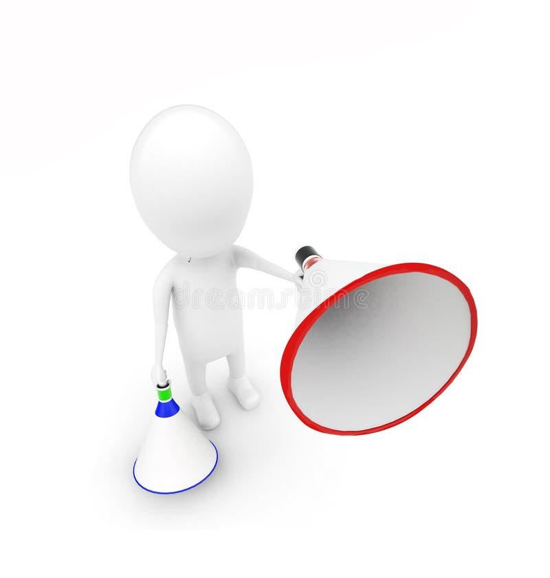 3d mens met blauw en rood luid sprekersconcept stock illustratie