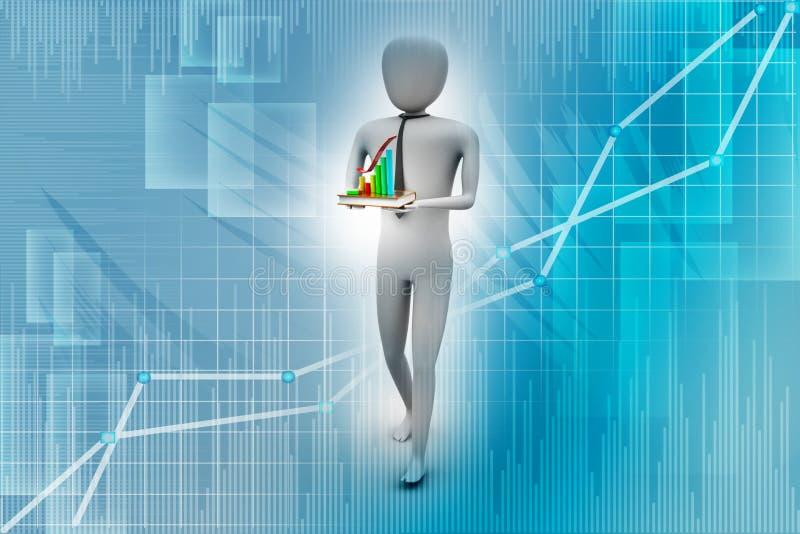 3d mens met boek en financiële grafiek vector illustratie