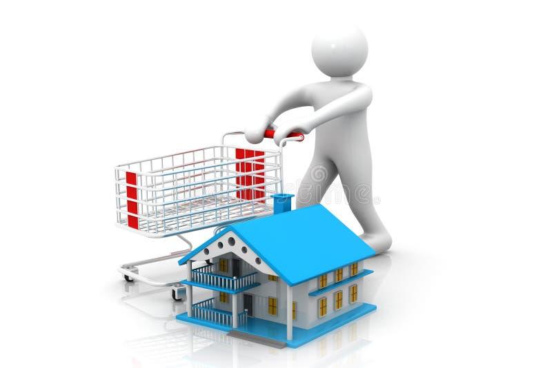 3d mens met boodschappenwagentje met huis vector illustratie