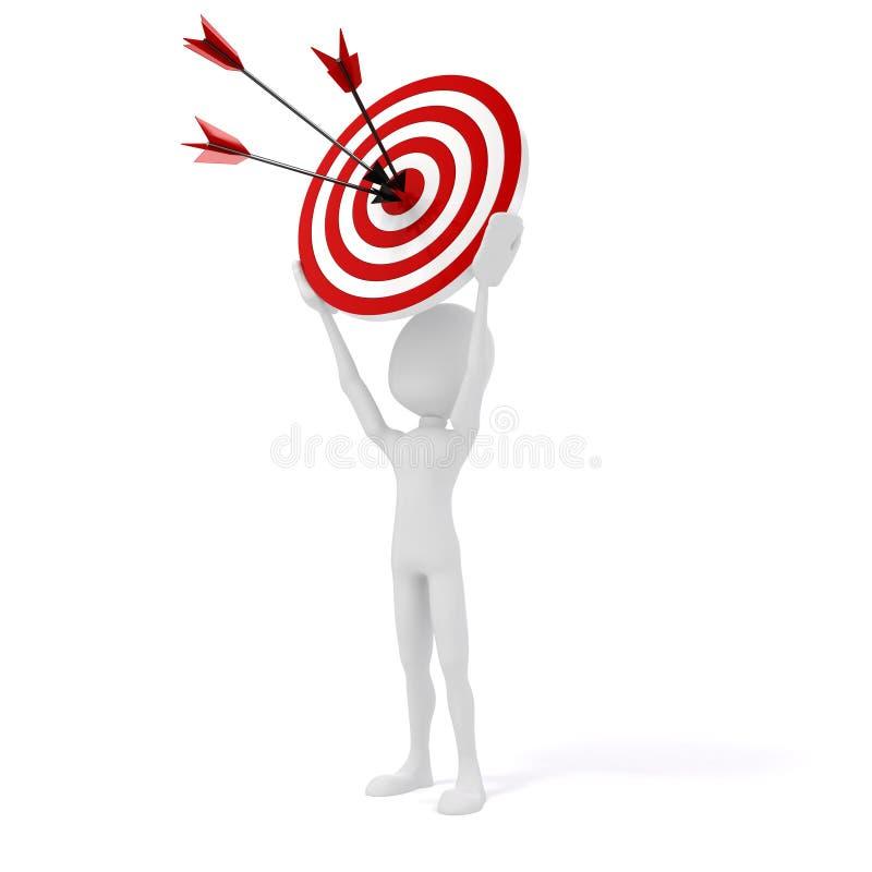 3d mens met doel en pijlen vector illustratie