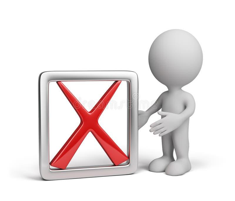 3d mens met een negatief symbool stock illustratie