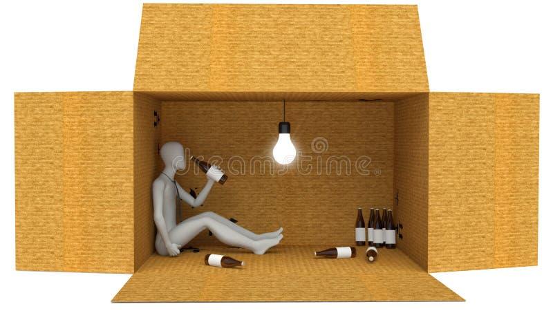 3D Mens met fles in doos wordt gedronken die vector illustratie