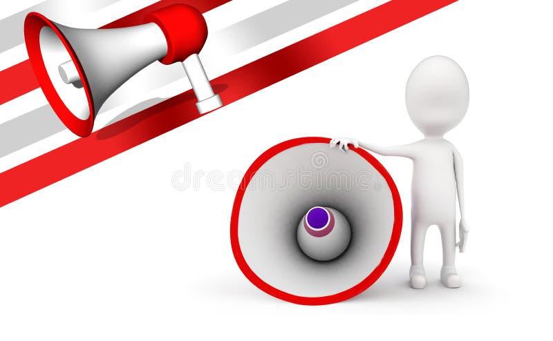 3d mens met groot luid sprekersconcept vector illustratie