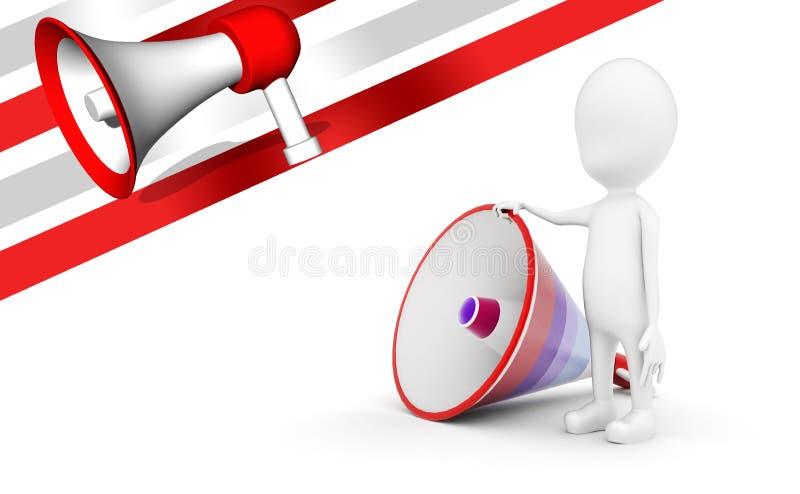 3d mens met groot luid sprekersconcept stock illustratie
