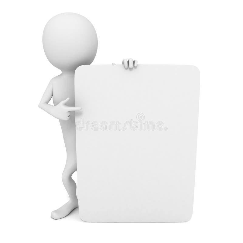 3d mens met het richten van vinger aan wit leeg adreskaartje stock illustratie