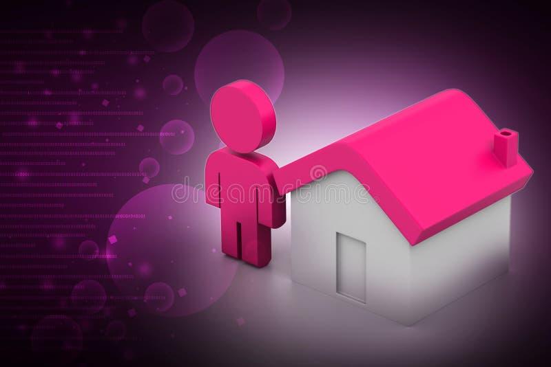3d mens met huis, onroerende goederenconcept vector illustratie