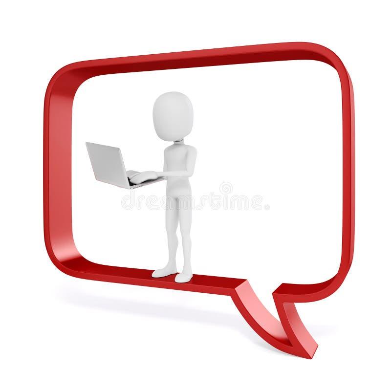 3d mens met laptop in een grote rode bellenbespreking royalty-vrije illustratie