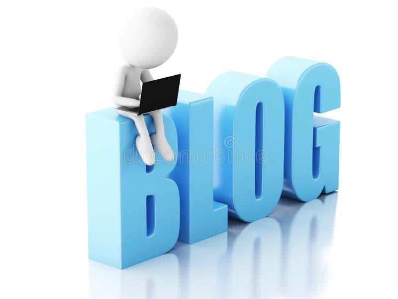 3d mens met laptop en blogteken Nieuwsconcept op witte backgrou royalty-vrije illustratie