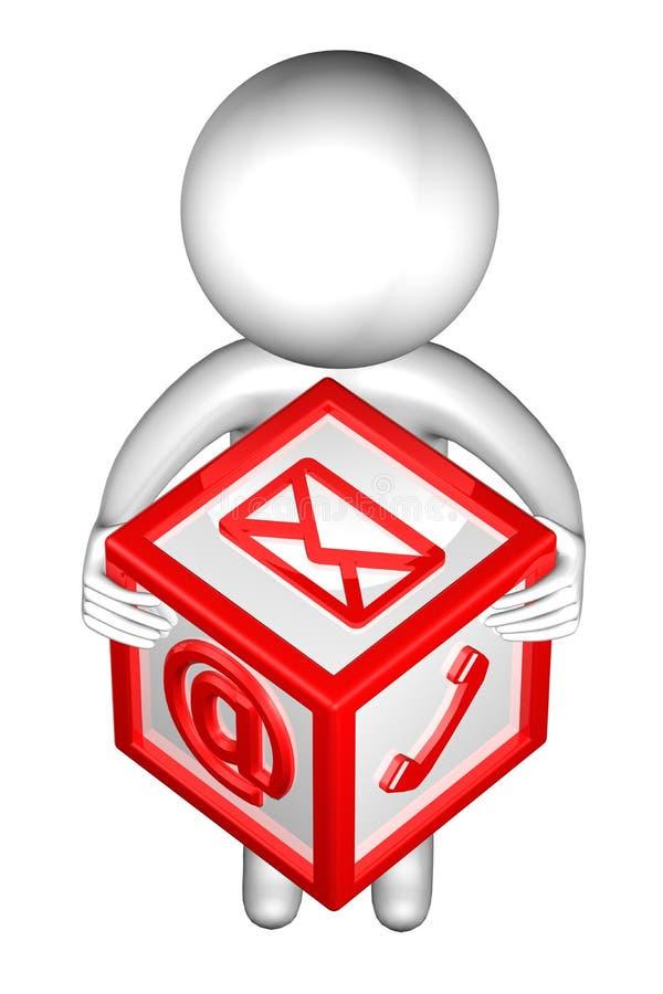 3d Mens met met tekens: envelop, telefoon, e-mail stock illustratie