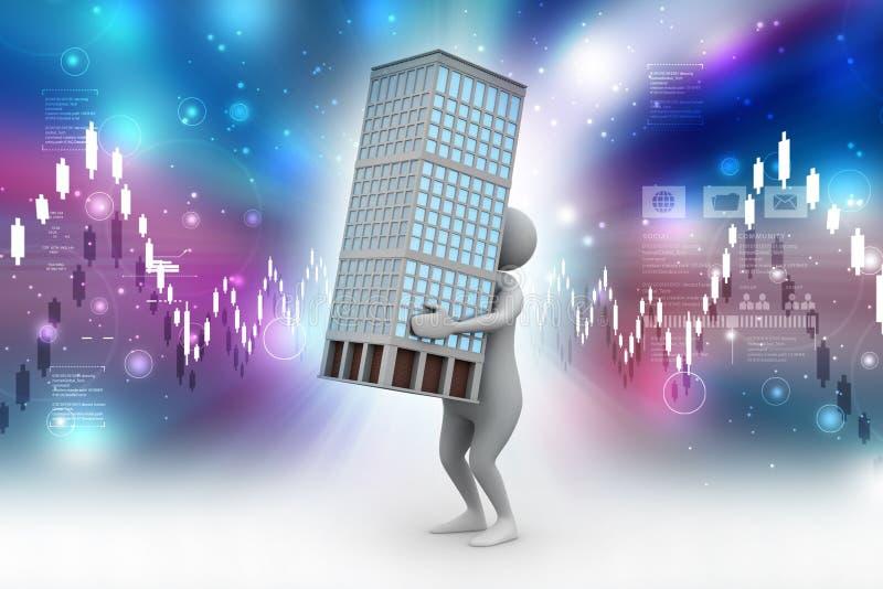 3d mens met slim huis stock illustratie