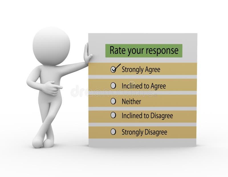 3d mens met tarief uw reactievragenlijst royalty-vrije illustratie