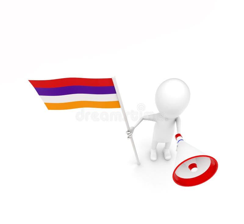 3d mens met vlag en luid sprekersconcept vector illustratie