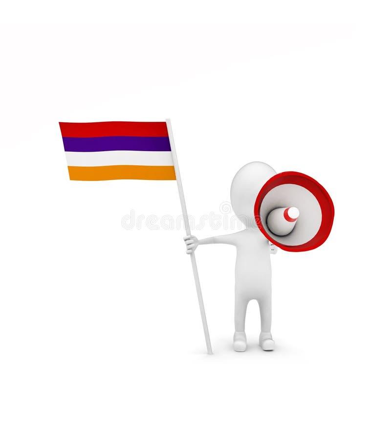 3d mens met vlag en luid sprekersconcept stock illustratie