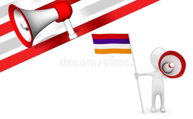 3d mens met vlag en luid sprekersconcept royalty-vrije illustratie