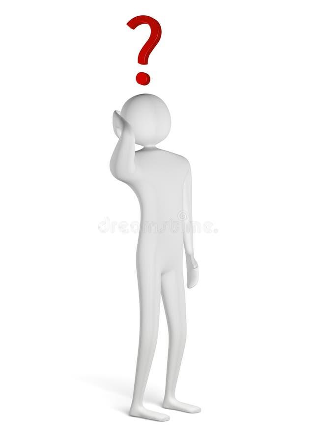 3d mens met vraagteken boven zijn hoofd stock illustratie