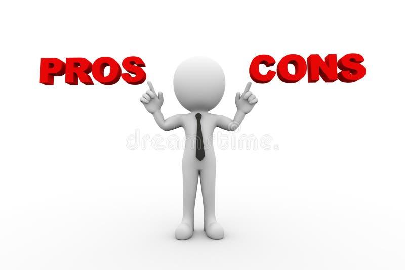 3d mens met woordpros - en - cons. stock illustratie
