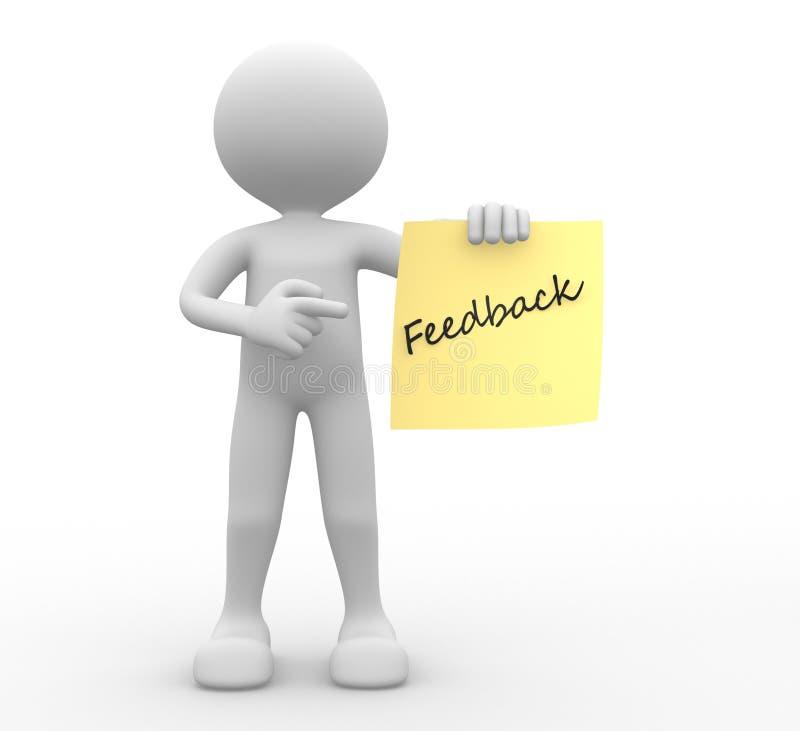 3d mens, persoon en geel document. Feedback stock illustratie