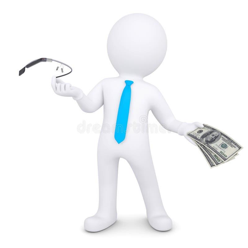 3d mens verandert het googleglas op het geld royalty-vrije illustratie