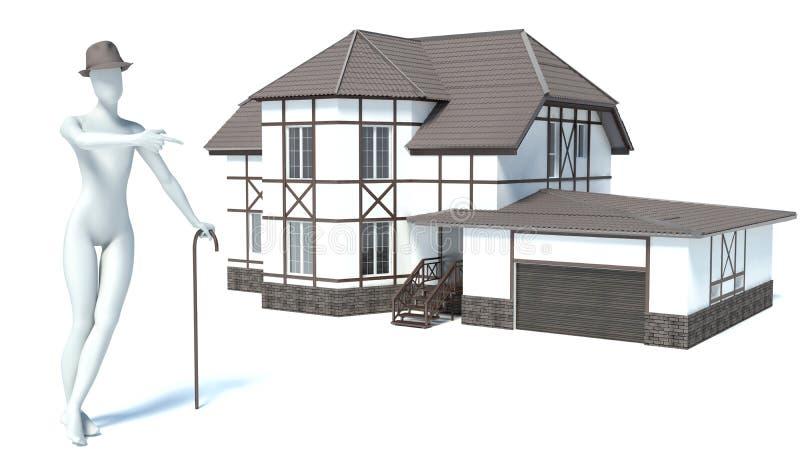3d mens verkoopt huis royalty-vrije illustratie