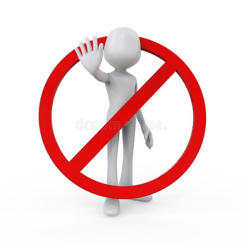 3D Mens in Waarschuwing stelt doet het niet! stock illustratie