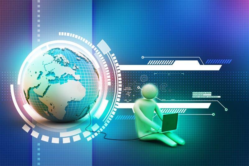 3d mens zit dichtbij de bol met laptop vector illustratie