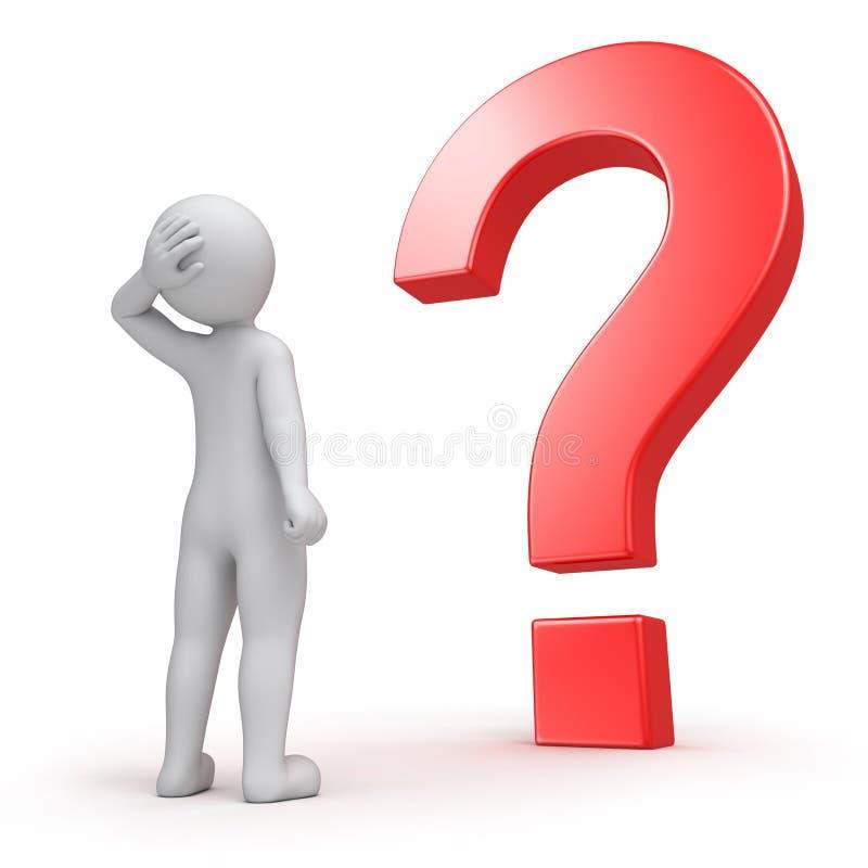 3d menselijk en een vraag royalty-vrije illustratie