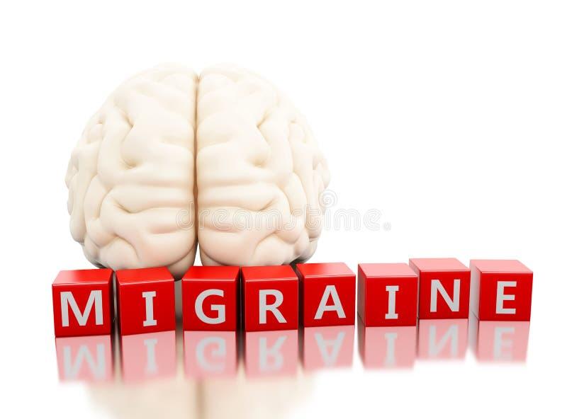 3d Menselijke hersenen met migrainewoord in kubussen stock illustratie