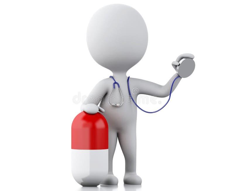 3d mensen arts met een stethoscoop en een pil stock illustratie