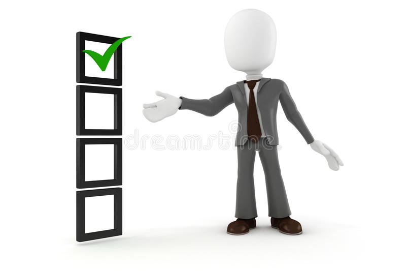 3d mensen bedrijfsmens en controlelijst royalty-vrije illustratie