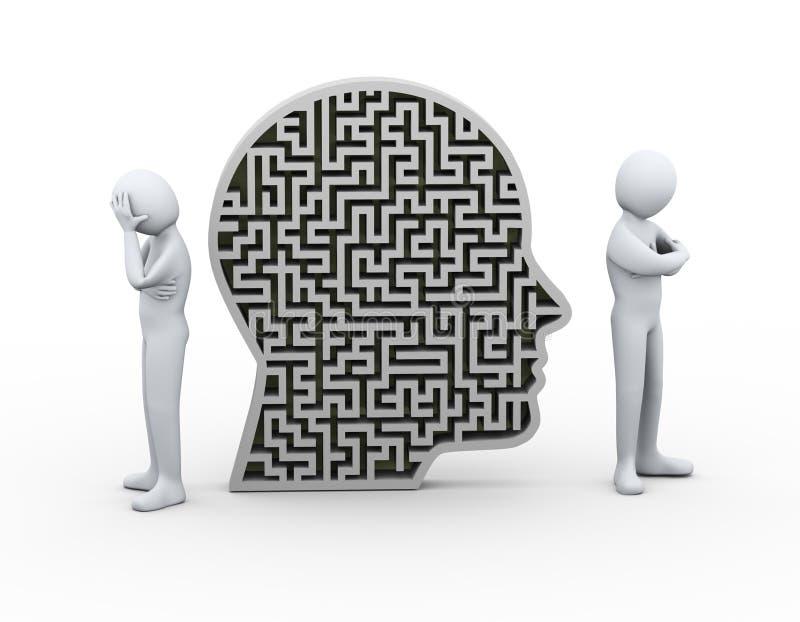 3d mensen betwisten het menselijke hoofd van het conflictlabyrint vector illustratie