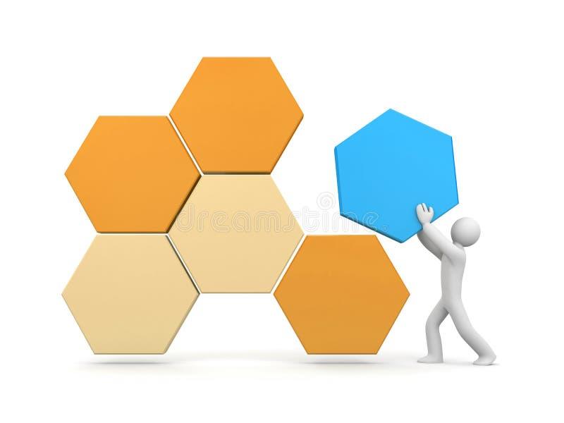 3d mensen bouwen een abstracte structuur stock illustratie