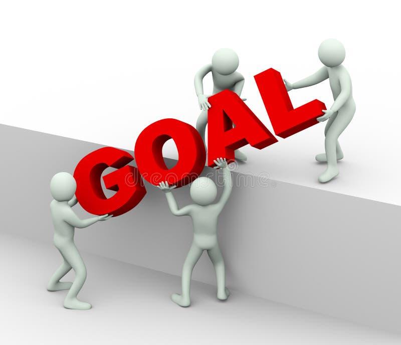 3d mensen - concept doel en doel het bereiken stock illustratie