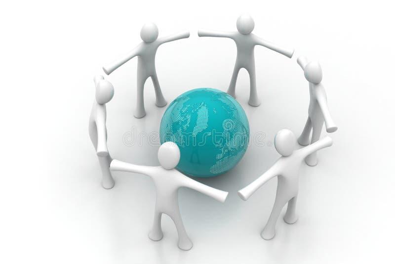 3d mensen creëren een cirkel rond de bol stock illustratie
