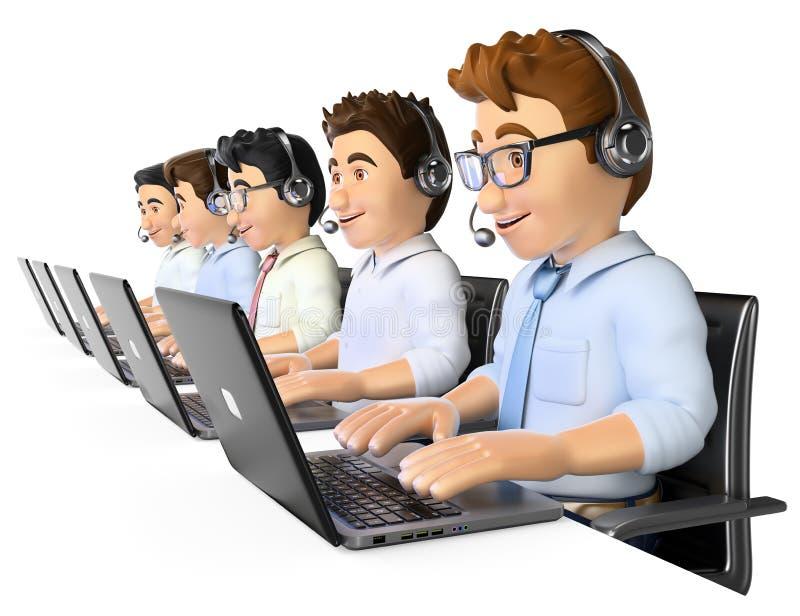 3D Mensen die in een call centre werken stock illustratie