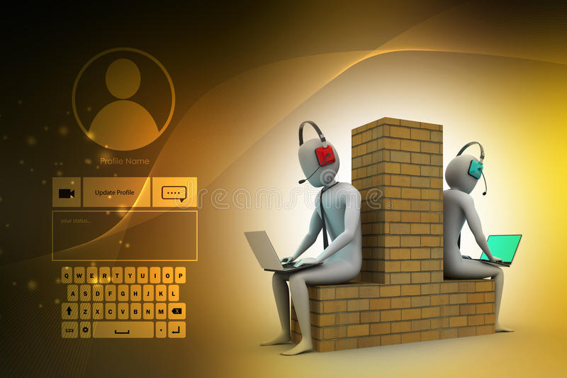 3d mensen die in laptop werken stock illustratie