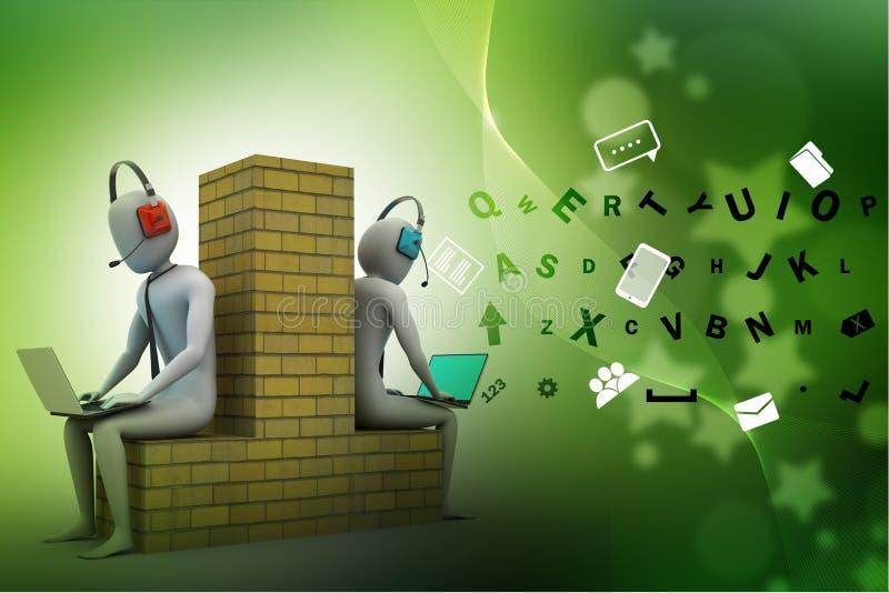 3d mensen die in laptop werken vector illustratie