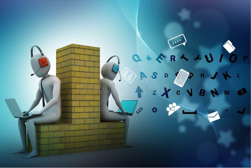 3d mensen die in laptop werken royalty-vrije illustratie