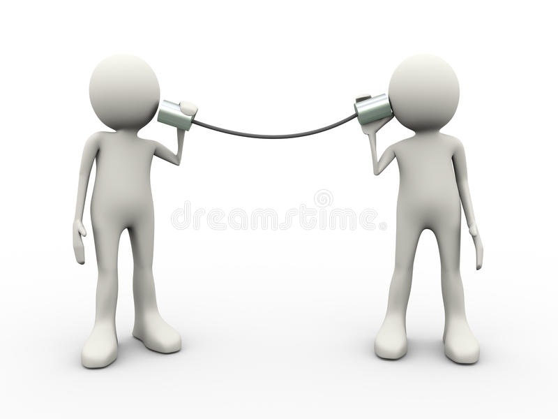 3d mensen die met metaaltinblik spreken telefoneren stock illustratie