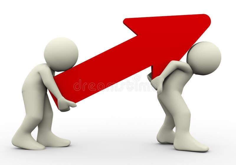 3d mensen die rode pijl dragen stock illustratie