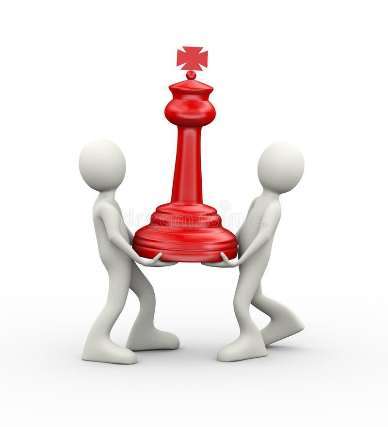 3d mensen die rood groot schaakstuk dragen vector illustratie
