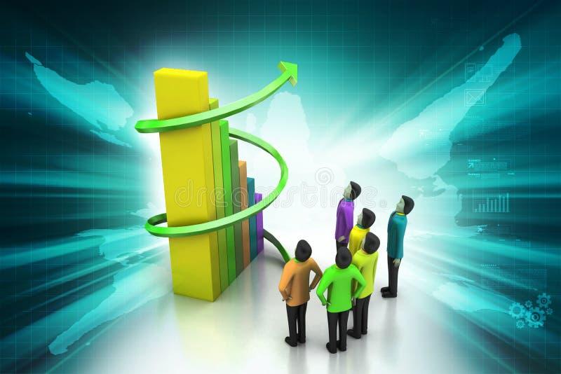3d mensen die zich naast de kleurrijke bedrijfsgrafiek bevinden vector illustratie