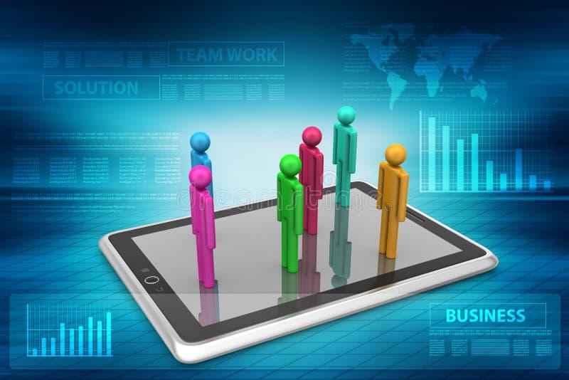 3d mensen die zich op de tabletcomputer bevinden vector illustratie