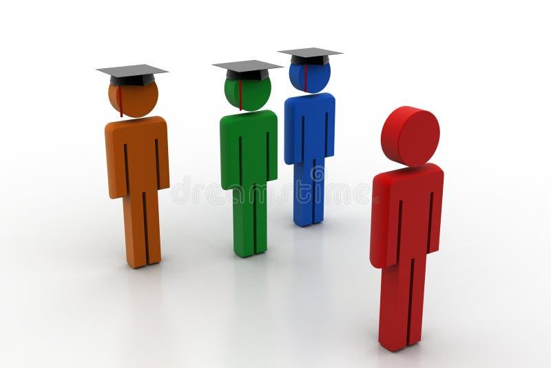 3d mensen dragen graduatie GLB voor belofte royalty-vrije illustratie
