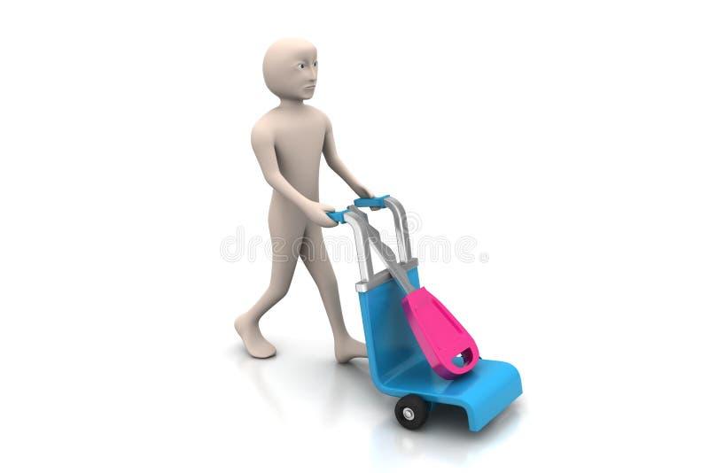 3d mensen dragend boodschappenwagentje met huissleutel vector illustratie